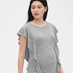 Gap Maternity Gray Softspun Flutter Sleeve Top
